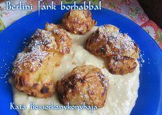 Berlini fánk borhabbal (Gluténmentesen is) recept foto French Toast, Paleo, Meat, Chicken, Breakfast, Food, Morning Coffee, Essen, Beach Wrap