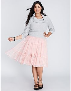Embroidered Tiered Tulle Skirt | Lane Bryant LOVE THIS SKIRT SO MUCH!!!! Could not stop twirling around in it!