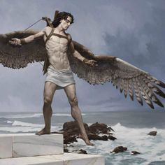 Study for Triumph of Icarus Bryan Larsen oil on masonite