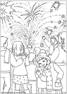 Bonfire night colouring pages for kids