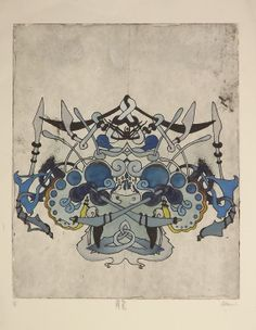FROST DRAGON // Hand colored Intaglio Print by GlypticArt on Etsy, $45.00