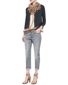 Jersey Striped Gauze-Inset Cardigan, Lamé Scoop-Neck Tank & Button-Fly Jeans w/ Rolled Cuffs by Brunello Cucinelli at Bergdorf Goodman.