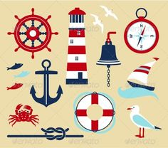 Illustration about Nautical elements in cartoon style. Illustration of painting, nautical, sailboat - 31795600 Nautical Baby, Nautical Theme, Nautical Fonts, Nautical Quilt, Nautical Rope, Vintage Nautical, Nautical Clipart, Decorate Your Room, Free Vector Art