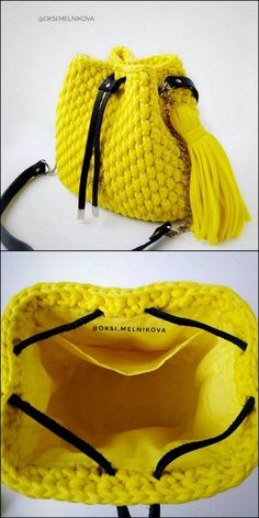 And Quick In Making Free crochet Patterns - DIY Rustics Bright Yellow Bag Free Crochet pattern Purse Patterns, Knitting Patterns, Crochet Patterns, Knitting Tutorials, Loom Knitting, Free Knitting, Stitch Patterns, Crochet Mat, Cute Crochet