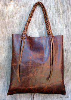Distressed Brown Leather Tote Made to Order by Stacy por stacyleigh