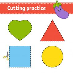 Cutting practice worksheet for kids Kids Educational Crafts, Science Crafts, Educational Websites, Learning Shapes, Fun Learning, Learning Spanish, Math For Kids, Science For Kids, Preschool Cutting Practice