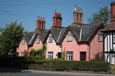 Suffolk pink made from pig's blood, Stoke-by-Clare, UK British Architecture, Architecture Details, Tudor House Exterior, Suffolk House, Country Cottage Interiors, Suffolk England, Cute Cottage, English Cottages, Ireland Homes