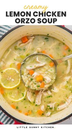 Lemon Chicken Orzo Soup is a Greek style chicken noodle soup with tender chicken, yummy vegetables, and pasta in a savory and bright lemon infused broth. Creamy Lemon Chicken, Lemon Chicken Orzo Soup, Chicken Noodle Soup, How To Cook Orzo, Ham And Beans, Usda Food, Low Sodium Chicken Broth, Slow Cooker Soup, Homemade Soup