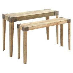 To build its simple, industrial design, the DecMode Wood Console Table - Natural - Set of 2 features distressed, natural wood and silver-finished metal corner brackets with exposed hardware. This set includes one large and one small console table. Small Console Tables, Dining Bench, Outdoor Furniture, Outdoor Decor, Sideboard, Industrial Design, Natural Wood, Table Settings, Larger