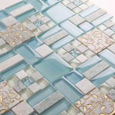 4mm 45mm Square Blue Crystal Glass mixed crved White marble mosaic tile for Wall Ceiling Ceiling Kithchen backsplash