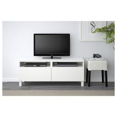 IKEA BESTÅ TV bench with drawers Lappviken white 120x40x48 cm The drawers close silently and softly, thanks to the integrated soft-closing function.