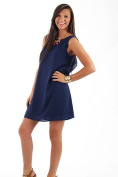 The Mint Julep Boutique- Tons Of Fun Dress in Navy