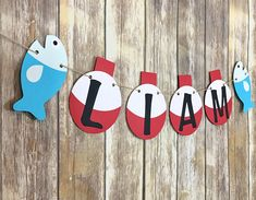 Fishing Bobber Name Banner, Fish Party, Birthday Decor, First Birthday, Photo Prop First Birthday Themes, First Birthday Photos, 1st Boy Birthday, Boy Birthday Parties, Happy Birthday Banners, Birthday Decorations, First Birthdays, Birthday Ideas, Fish Party Decorations