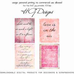 quatre textes à imprimer et encadrer pour déclarer votre amour... vous pouvez aussi, en réduisant leur format, les utiliser pour créer cartes, pages de scrap...