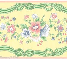 Victorian Rose Wallpaper Border Pink Red Yellow Blue Fl Flower Silk Satin