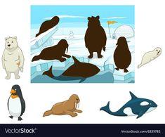 Arctic animals educational game for kids vector illustration royalty Preschool Scavenger Hunt, Farm Animals Preschool, Preschool Colors, Preschool Crafts, Polo Norte, Pre K Activities, Montessori Activities, Animal Puzzle, Animal Tracks