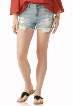 Cato Fashions Crochet Pocket Distressed Jean Shorts #CatoFashions