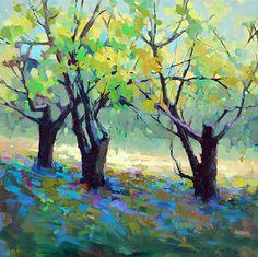 Luz através das árvores. Óleo sobre tela. Trisha Adams