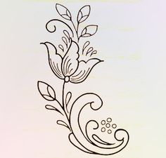 Embroidery Pattern from Rosemal flower design outline. jwt
