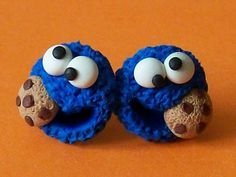 Cookie Monster stud earrings polymer clay fimo by CreationsbyMD, $4.00