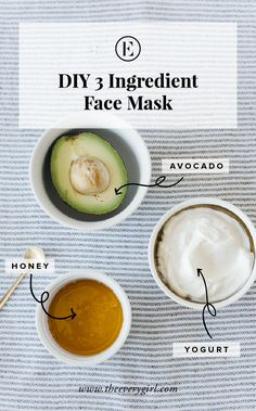 At-Home Avocado Honey & Yogurt Face Mask - The Everygirl Avocado Hair, Avocado Face Mask, Home Remedies For Hair, Hair Loss Remedies, Yogurt Face Mask, Skin Tightening Mask, Homemade Shampoo, Homemade Mask