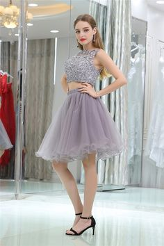 Cute Sleeveless Short Grey Lace Tulle Two Piece Cocktail Prom Dress Prom Dresses 2018, Prom Dresses For Sale, Cocktail Dress Prom, Two Pieces, Cocktails, Tulle, Ballet Skirt, Formal, Grey