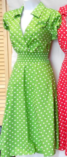Green Pin Up Dress Vintage 1950s Retro