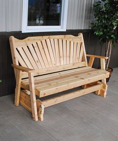Look what I found on #zulily! Cedar Unfinished Fanback Glider Bench #zulilyfinds