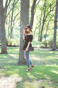 Emilee Anne wearing Style Nanda Eyelet Blouse // Zara Jeans // Swedish Hasbeens Black Sandals // Celine Sunglasses // Marc Jacobs Purse // J. Crew Gold Cuffs