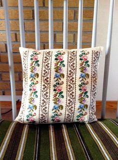 Vintage Scandinavian Embroidered Pillow Cover with Pink Blue