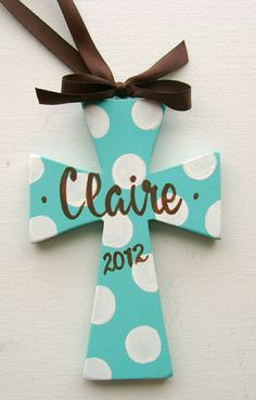 Hand painted personalized wood cross ornament by BellaLouart