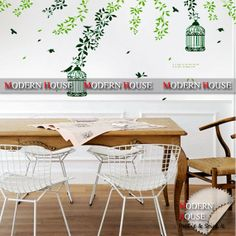PEEL and STICK Removable Vinyl Kids Wall Decal Wall Sticker - Falling Leaves & Birdcage Hanging Decal