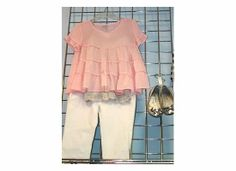 Too cute! Girls outfit and shoes...Pink ruffle top with white capris and sparkling, jewel flats!