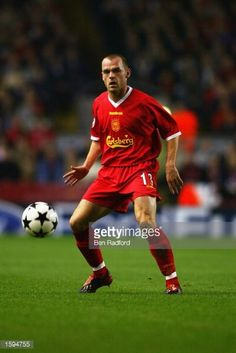 Danny Murphy of Liverpool in action during the UEFA Champions League first phase Group B match between Liverpool and Valencia CF at Anfield on October 30 2002 in Liverpool England Valencia won the...