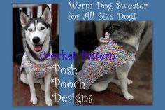 Warm Dog Sweater for All size Dogs- 2 to 200 lbs!Big Dogs Crochet Patterns