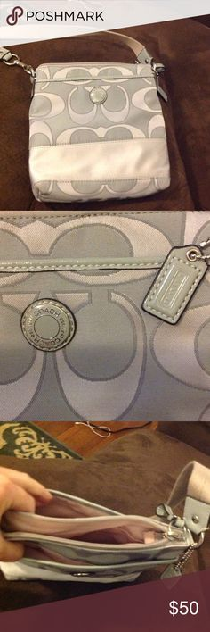 Coach Cross body Purse Very light blue canvas cross body purse. Two outer pockets, with one main zipped compartment. Small pocket in lining of main zipped compartment. Very gently used, no stains and no signs of wear. Coach Bags Crossbody Bags