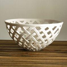 Carved Porcelain Basket Weave Bowl by Isabelle Abramson Ceramics Available Work
