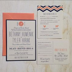 Wedding Invitation Suite // Chevron and Modern //  Custom wedding invitation with RSVP card.  Add ons include thank you cards, rehearsal dinner invitations, menus, place cards, table numbers, and programs.  Invitations can be customized with envelope addressing, envelope liners, burlap, twine, and bellybands.