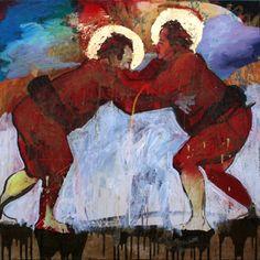 Red Sumos Canvas Print