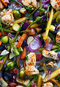 I will be making this as soon as local asparagus comes in!!  Sheet Pan Chicken and Veggie Dinner - Lexi's Clean Kitchen
