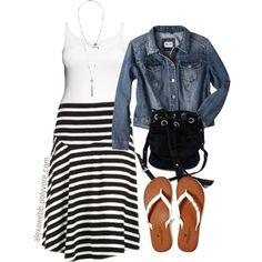 """Stripe Skirt - Plus Size"" by alexawebb on Polyvore"