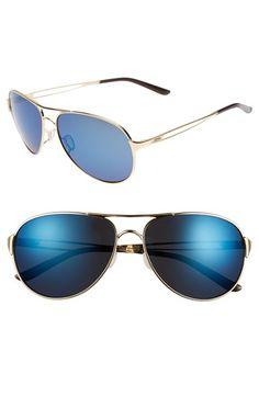 Women's Oakley 'Caveat' 60mm Aviator Sunglasses Polished Gold/ Ice Iridium One Size