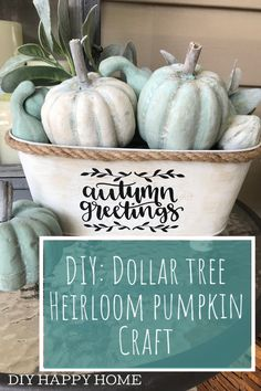 Create a beautiful, unique heirloom pumpkin arrangement for fall using items purchased at The Dollar Tree! Create a beautiful, unique heirloom pumpkin arrangement for fall using items purchased at The Dollar Tree! Dollar Tree Pumpkins, Dollar Tree Fall, Dollar Tree Decor, Dollar Tree Crafts, Dollar Tree Christmas, Pumpkin Arrangements, Coastal Fall, Painted Pumpkins, Wood Pumpkins