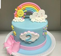 Baby Birthday Cakes, Rainbow Birthday Party, Bolo Minnie, Cake Decorating With Fondant, Ballerina Cakes, Novelty Cakes, Girl Cakes, Pretty Cakes, Celebration Cakes