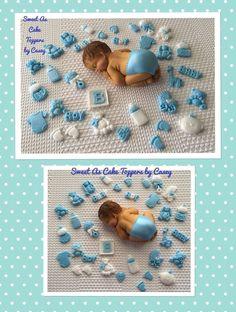 1 X Large Baby Boy + 30 MINI Fondant Cupcake Toppers. Baby Shower  | eBay