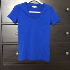 Madewell Basic Royal Blue V-neck Tee with Pocket Bright blue tee with raw edged v-neck and front left pocket. Seam runs down the back. 100% cotton. Madewell Tops
