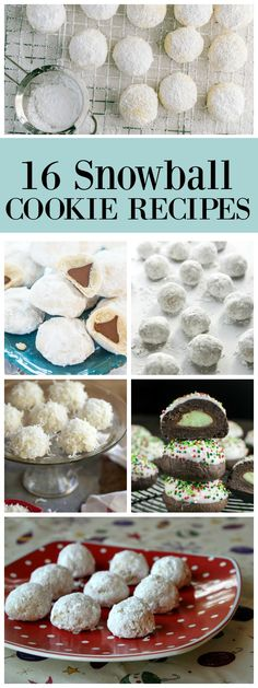 16 Snowball Cookie recipes for holiday baking or just a wintery sweet treat: Coconut Snowballs, Pecan Snowballs, Almond Snowballs, Chocolate Snowballs and more!