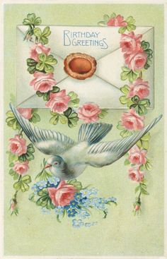 Antique postcard of birds and roses