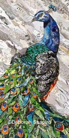 Collage Peacock made from torn magazines by Collage Artist Deborah Shapiro – Deborah Shapiro Art Paper Collage Art, Collage Art Mixed Media, Collage Artists, Magazine Collage, Magazine Art, Ideas Magazine, Create Collage, Easy Collage, Kids Canvas