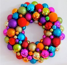 wreath made of christmas ornaments